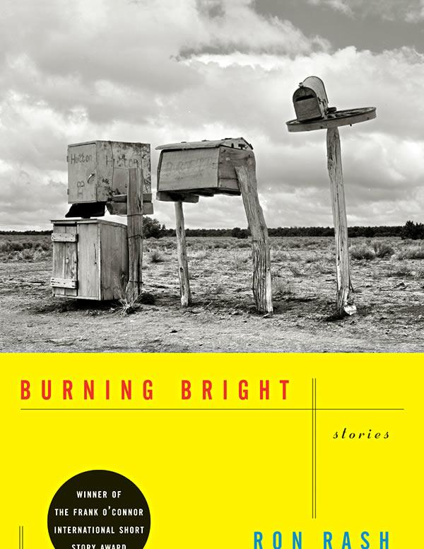 Upper half is a black and white photo of worn wooden and metal mailboxes in a parched landscape. The bottom half is a solid yellow background with the book title and author name