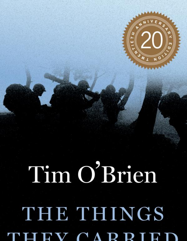 The Things They Carried book cover with author name and book title  with a blurred image of soldiers carrying their weapons through a forest