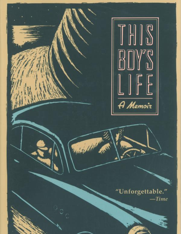 Book cover: title and author name in pink and white outline type over a background of an illustration of a car making its way around a curve on a mountain road